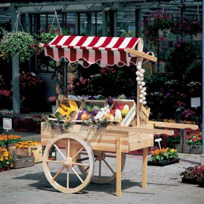 Marktwagen mit Baldachin weiß/rot