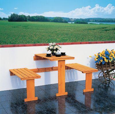 Promadino Balkonklappgarnitur m. Auflagen blau | Garten > Balkon > Balkon-Sets | Kiefernholz | Promadino