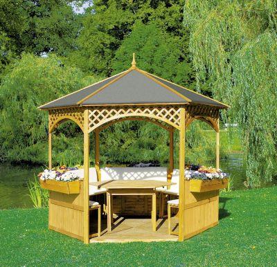 Promadino Pavillon Palma m. Holzdach + Dachpappe+ Möbeln | Garten > Pavillons | Promadino