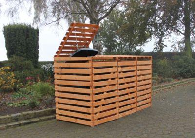 Mülltonnenbox ´´Vario V´´ für 3 Tonnen, honigbraun