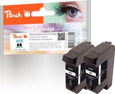 Peach Doppelpack Druckköpfe schwarz kompatibel zu HP No. 15, C6615D (wiederaufbereitet)