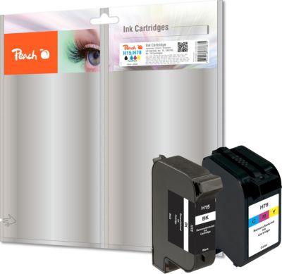 Peach Spar Pack Druckköpfe kompatibel zu HP No. 15, C6615D, No. 78, C6578D (wiederaufbereitet)