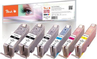 Peach Spar Pack Plus Tintenpatronen XL kompatibel zu Canon 2xPGI-570XL, CLI-571XL