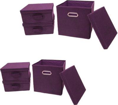 Ordnungsboxen Violett 2x 3er SET Aufbewahrungsbox Stoff Aufbewahrungskorb mit Deckel Faltbar Spielzeugkiste Einschubkorb Regalbox Stoffbox Faltbox Regaleinsatz