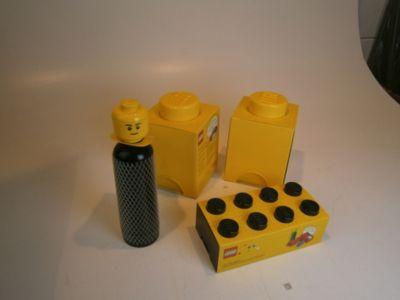 464ca96e0f811 Artra Design 6.Lego Aufbewahrungsboxen 4er SET Lunchbox   Trinkflasche  Schwarz   2x Lego Box 1 Gelb