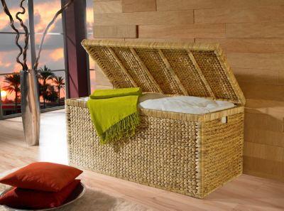 Geflecht Truhe mit Klappdeckel 95 cm, natur atmungsaktiv Aufbewahrungsbox mit Deckel Aufbewahrungskiste Aufbewahrungstruhe Wäschetruhe Auflagenbox
