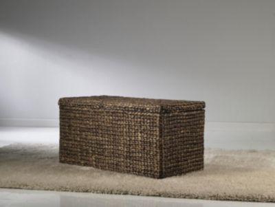 Geflecht Truhe mit Klappdeckel 93 cm, braun Aufbewahrungsbox mit Deckel Sitztruhe Aufbewahrungskiste Aufbewahrungstruhe Wäschetruhe Auflagenbox