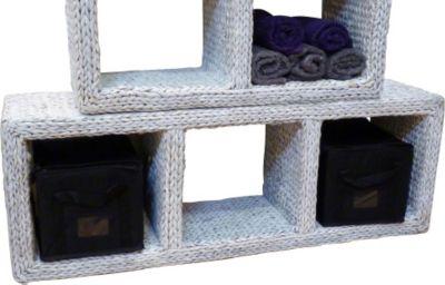 Dreigeteiltes Regalelement Regal-Turm -weiß hoch oder quer zu verwenden Büro Flur Regal Schrank Steckregal Wandregal Sideboard