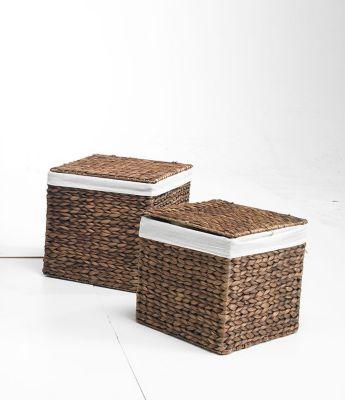 Körbe, Behälter, Truhen 2er Set M braun, aus Wasserhyazinthe,36x36x36, quadratisch Wäschebehälter Wäschetruhe Aufbewahrungsbox mit Deckel Aufbewahrungskiste Aufbewahrungstruhe Wäschetruhe