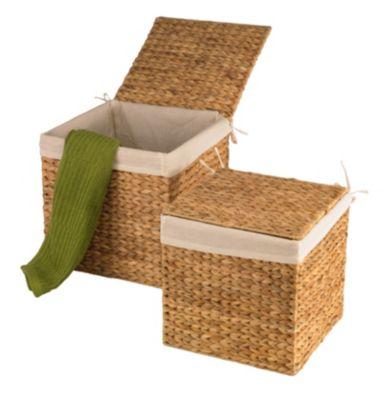 Design Wasserhyazinthe Körbe Truhen 2er Set M quadratisch Wäschebehälter nachhaltige Wäschetruhe Aufbewahrungsbox mit Deckel Aufbewahrungskiste Aufbewahrungstruhe Wäschetruhe