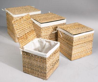 Wasserhyazinthe Körbe Truhen 4er SET quadratisch Wäschebehälter Wäschetruhe Aufbewahrungsbox mit Deckel Aufbewahrungskiste Aufbewahrungstruhe Wäschetruhe