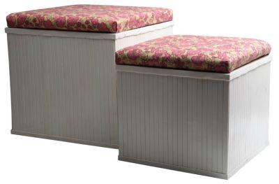 Bambus Truhe Hocker Blumen 2er SET Sitzbank Sitztruhe Aufbewahrungsbox Sitzhocker Aufbewahrungskörbe