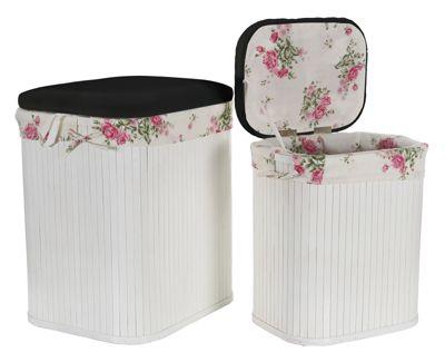 Wäschesammler, Wäschebehälter Truhen 2er SET Rosen, schwarzer Deckel, Bambus Wäschebehälter Wäschesortierer Wäschetruhe Wäschetonne Wäschebox