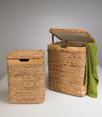 Wäschesammler Truhen 2er SET Wasserhyazinthe Wäschebehälter Wäschesortierer Wäschetruhe Wäschetonne Wäschebox