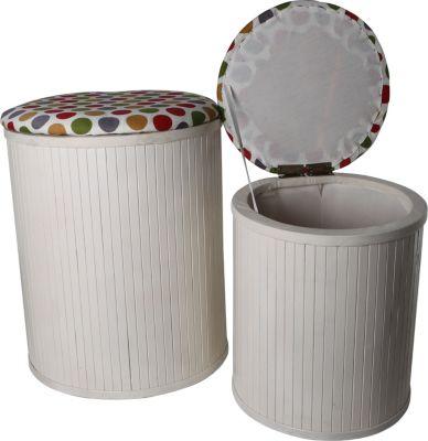 Wäschesammler, Wäschebehälter Hocker Truhen 2er SET Bambus bunte Punkte Wäschesammler Wäschebehälter Wäschesortierer Wäschetruhe Wäschetonne Wäschebox
