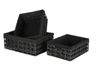 Aufbewahrungs Körbe 3er Set Schwarz, Ordnungshelfer Rechteckig Aufbewahrung Ordnungshelfer Geschenkeboxen Regalaufbewahrung Aufbewahrungskorb Regalkorb