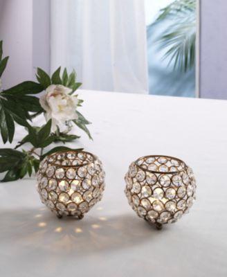 Design Kristall Kerzenständer Marie 2er SET Kugel 10 cm in KUPFER Teelichthalter Kerzenhalter Tafel Hochzeit Feier Teelichthalter Kerzenleuchter Tischdeko Gastgeschenke