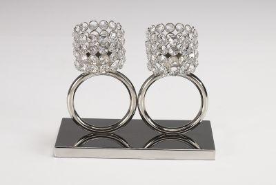 Design Kristall Kerzenständer Teelichthalter Louise 2 Ring 2er SET  Teelichthalter Kerzenhalter Kerzenleuchter Tischdeko Gastgeschenke silber  Weihnachten