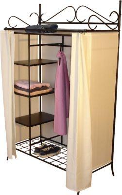 moebel direkt online Garderobe mit Vorhang _ Metallgarderobe _ Schrank | Schlafzimmer > Kleiderschränke > Ordnungssysteme | Braun | Möbel direkt online