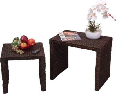 moebel direkt online 2-Satz-Tisch _ Beistelltische _ Handgeflochtene Tische _ 2 Tische _ braun oder naturfarben