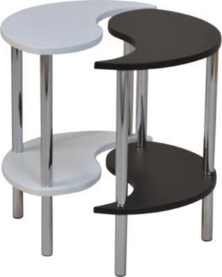 Beistelltisch _ Tisch Yin / Yang _ Tisch mit 2 Ablagen