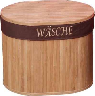 Sitz-/Wäschetruhe _ mit Stoffeinsatz _ Bambus-Sitztruhe