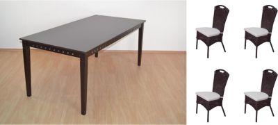 Tischgruppe 5tlg.: 1 x Esstisch 180x90 cm und 4 x Rattanstuhl