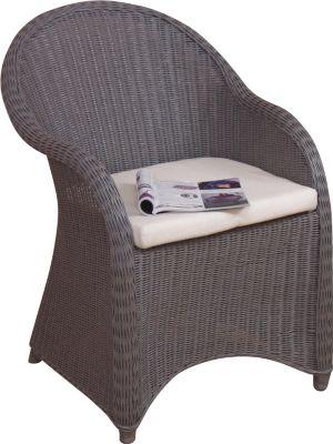 möbel direkt online Rattansessel inklusive Sitzkissen Holger | Wohnzimmer > Sessel > Rattansessel | Weiß - Braun - Grau | Gebeizt - Lackiert | Möbel direkt online