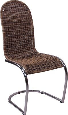 Schwingstuhl, _ 1 x Polyrattan Stuhl _ Handgeflochtener Schwingstuhl