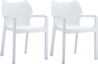 2er Set hochwertiger Design Gartenstuhl DIVA mit Armlehne, stapelbar, wasserabweisend, UV-beständig (bis zu 8 Farben wäh