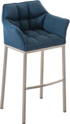 Forst (Lausitz) Angebote Design Edelstahl Barhocker DAMASO, Stoff-Bezug, Sitzhöhe 83 cm, gut gepolstert, 4 Beine, mit Lehne, Fußstütze