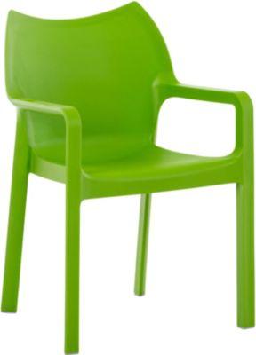 Design Gartenstuhl, Küchenstuhl, Stapelstuhl DIVA mit Armlehnen, hochwertiger Kunststoff-Stuhl
