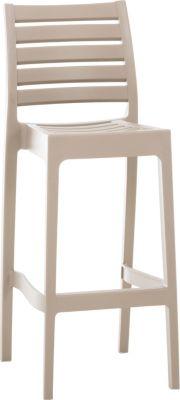 CLP Outdoor-Barhocker ARES mit Fußstütze Tresenhocker in Rattan-Optik Stapelbarer wetterfester Kunststoff-Barstuhl mit einer Sitzhöhe von: 75 cm In verschiedenen Farben erhältlich