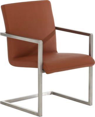 Edelstahl Design Freischwinger-Stuhl JAVA, mit Armlehne, 8 Farben, bequemer Sitzfläche