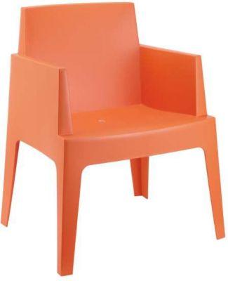Design Bistrostuhl Gartenstuhl BOX, XXL 160 kg max. Belastbarkeit, Kunststoff Gartensessel, stapelbar, wetterfest
