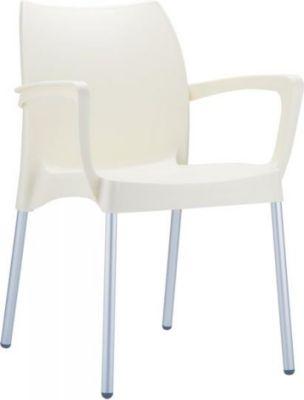 Gartenstuhl, Küchenstuhl, Stapelstuhl DOLCE mit Armlehne, stapelbar, Kunststoff / ALU