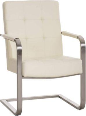 Konferenzstuhl, Freischwinger Stuhl QUENTIN mit Armlehne, Edelstahl Gestell, Sitzfläche gepolstert, 11 cm Sitzpolster