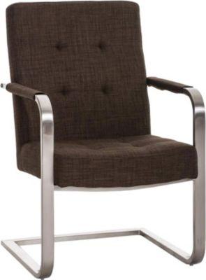 Konferenzstuhl, Freischwinger Stuhl QUENTIN mit Armlehne, Stoffbezug, Edelstahl Gestell, Sitzfläche gepolstert, 11 cm Sitzpolster