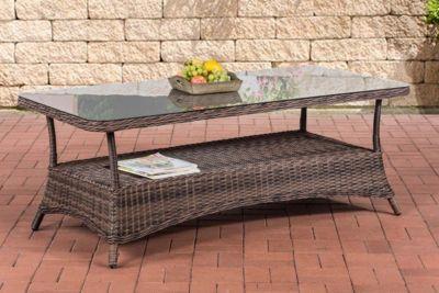CLP Design Outdoor Lounge-Tisch PANDORA, Höhe 60 cm, Glas Tischplatte, 5 mm Rattan Geflecht, ALU Gestell, mit Stauraum, Ablage unter der Tischplatte | Wohnzimmer > Tische > Glastische | CLP