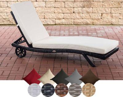 CLP Sonnenliege ELBA aus Poly-Rattan & Aluminium, mit Rollen, stapelbar, inkl. dicker Auflage (aus bis zu 4 Rattan-Farben wählen)