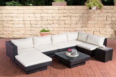 Poly-Rattan Gartenmöbel Lounge-Set TUNIS, 6 Sitzplätze, Lounge Sofa + Tisch 80 x 80 cm
