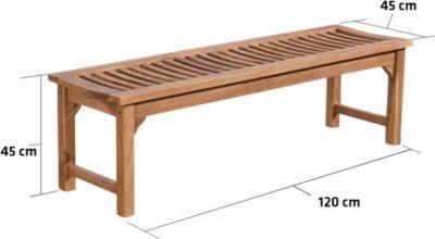solide Holz-Bank HAVANA ohne Lehne, aus massivem Teakholz (bis zu 5 Größen wählbar)