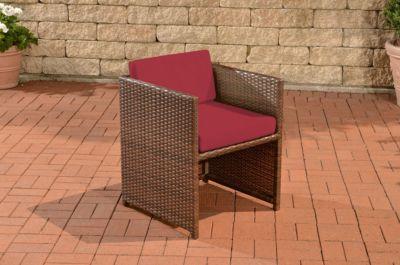 CLP Polyrattan-Sessel TAHITI inklusive Sitzkissen Robuster Gartenstuhl mit einem Untergestell aus Aluminium In verschiedenen Farben erhältlich   Wohnzimmer > Sessel > Rattansessel   Polyrattan   CLP