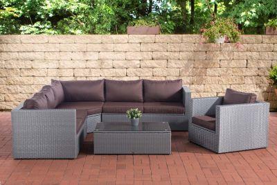 CLP Polyrattan-Gartenlounge TIBERA XXL mit Stauraum Garten-Set mit 6  Sitzplätzen Komplett-Set bestehend aus: 2 x 2er Sofa, 1x Sessel, 1x  Ecksofa, 1x ...