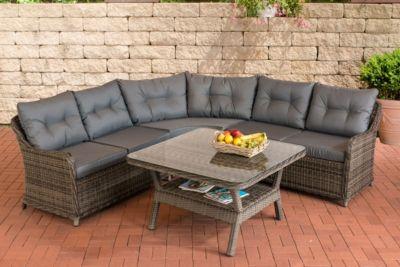 Poly Rattan Garten Lounge Set LORETO, Eck Sofa + Glastisch 110 X 110 Cm  Quadratisch, 6 Sitzplätze