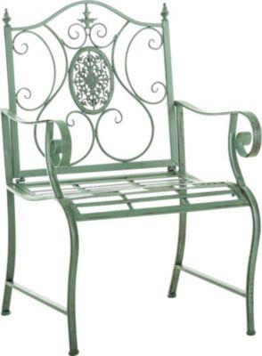 Gartenstuhl PUNJAB Mit Armlehne, Eisen Lackiert, Design Landhaus Stil  Antik, Metall Stuhl Maße Ca. 6