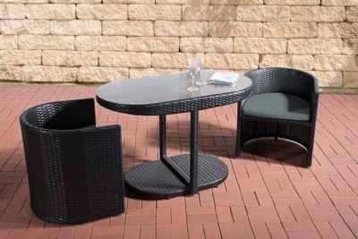 Poly Rattan Sitzgruppe Bayamo 2 Personen Aluminium Gestell Platzsparend Flexibel Ideal Fur Balkon Terrasse