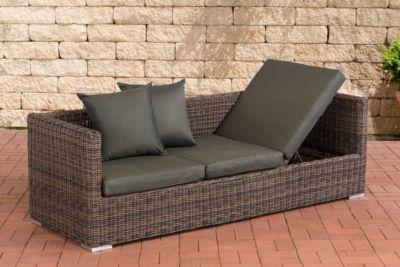 CLP Poly-Rattan Lounge-Sofa SOLANO 5 mm, ALU-Gestell, 3 er Sofa / Sonnenliege   Garten > Gartenmöbel > Loungemöbel-Garten   Rattan - Aluminium   CLP