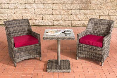 CLP Gartengarnitur ARMETTA Balkon-Sitzgruppe mit 2 Sitzplätzen Gartenmöbel-Set aus Polyrattan Komplett-Set mit 2 Gartenstühlen und einem Tisch In verschiedenen Farben erhältlich   Garten > Balkon > Balkontische   Polyrattan   CLP