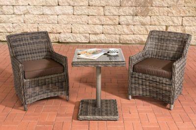 CLP Gartengarnitur ARMETTA Balkon Sitzgruppe Mit 2 Sitzplätzen Gartenmöbel Set  Aus Polyrattan Komplett Set Mit 2 Gartenstühlen Und Einem Tisch In ...
